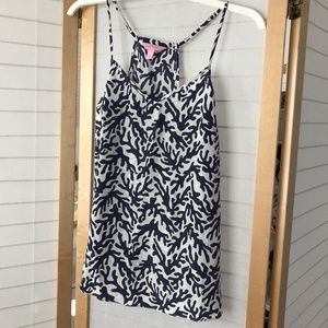 Lily Pulitzer 100% silk cami size S blue & white